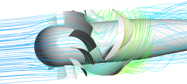 Result of the CFD simulation of the turbine with representation of the streamlines