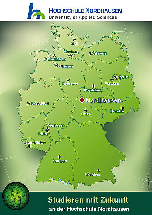 Map of Germany with Nordhausen