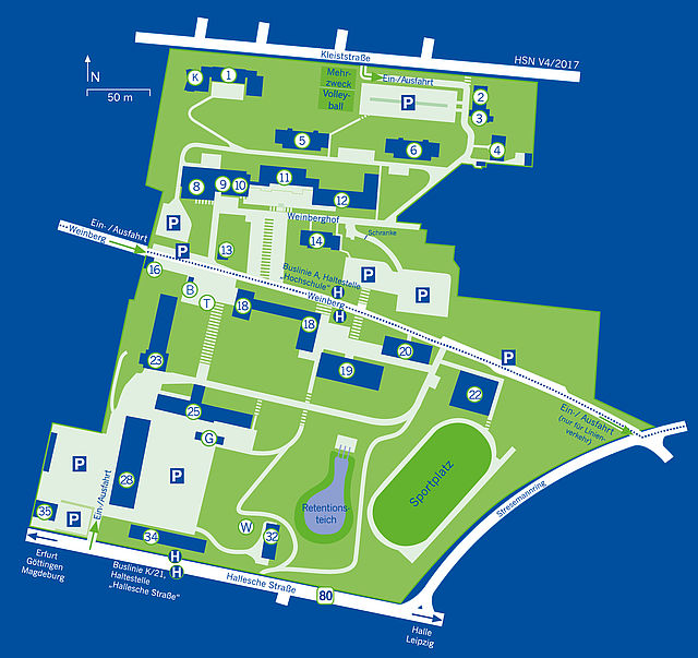 Campus map of Nordhausen University of Applied Sciences